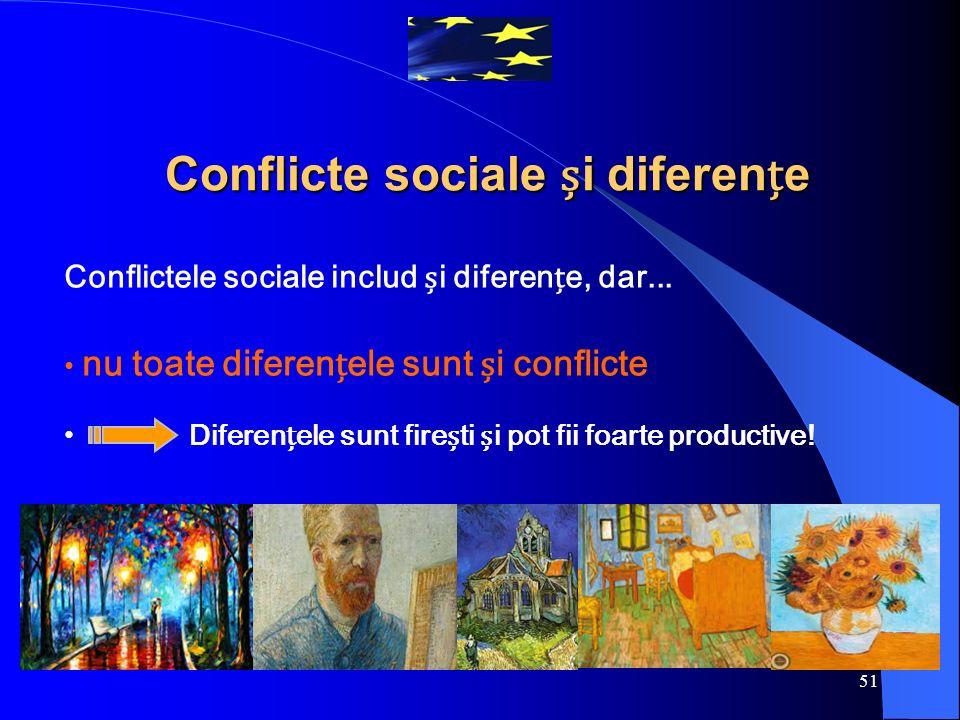 51 Conflictele sociale includ i diferene, dar... nu toate diferenele sunt i conflicte Diferenele sunt fireti i pot fii foarte productive! Conflicte so