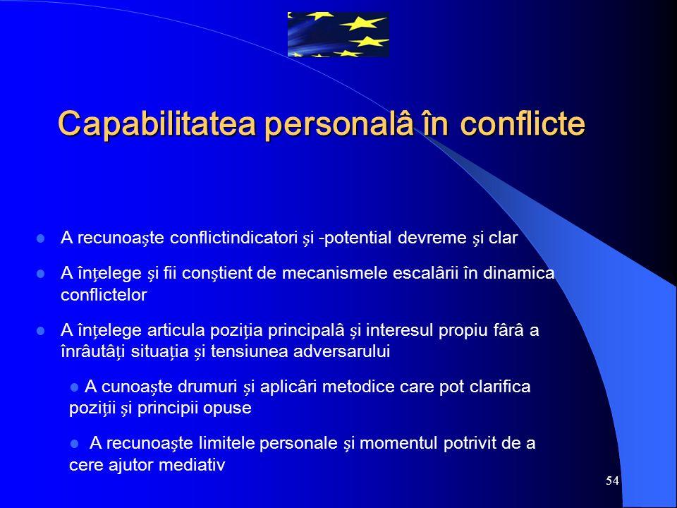 54 Capabilitatea personalâ în conflicte A recunoate conflictindicatori i -potential devreme i clar A înelege i fii contient de mecanismele escalârii î