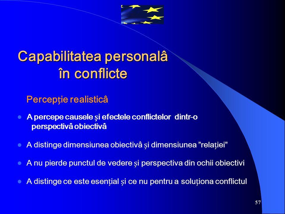 """57 Percepie realisticâ A percepe causele i efectele conflictelor dintr-o perspectivâ obiectivâ A distinge dimensiunea obiectivâ i dimensiunea """"relaiei"""