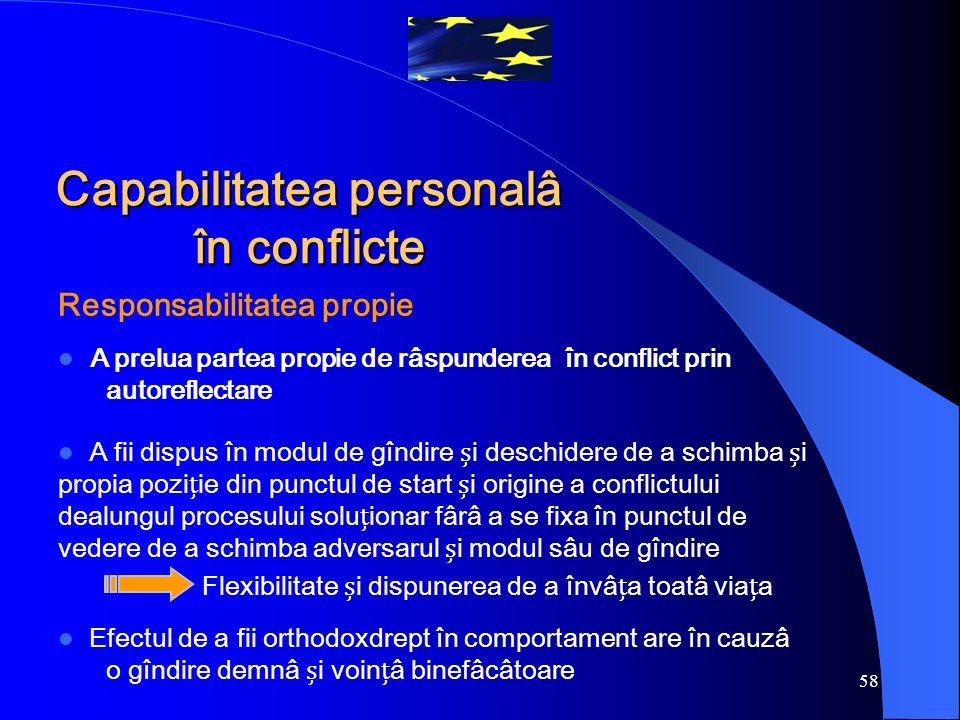 58 Responsabilitatea propie A prelua partea propie de râspunderea în conflict prin autoreflectare A fii dispus în modul de gîndire i deschidere de a s