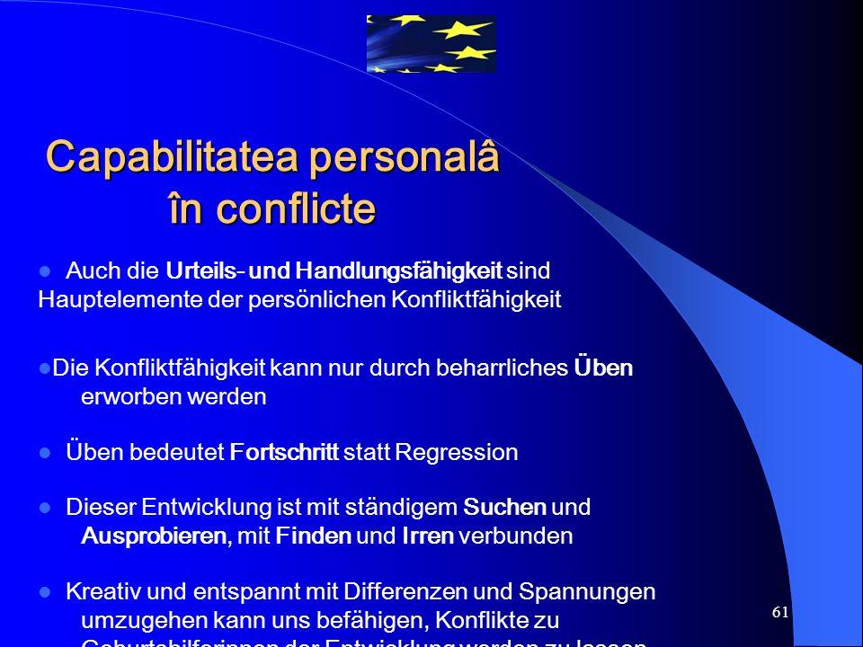 61 Auch die Urteils- und Handlungsfähigkeit sind Hauptelemente der persönlichen Konfliktfähigkeit Die Konfliktfähigkeit kann nur durch beharrliches Üb