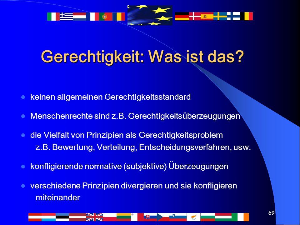 69 Gerechtigkeit: Was ist das? keinen allgemeinen Gerechtigkeitsstandard Menschenrechte sind z.B. Gerechtigkeitsüberzeugungen die Vielfalt von Prinzip