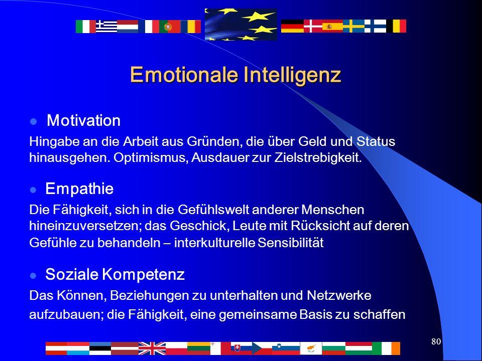80 Emotionale Intelligenz Motivation Hingabe an die Arbeit aus Gründen, die über Geld und Status hinausgehen. Optimismus, Ausdauer zur Zielstrebigkeit