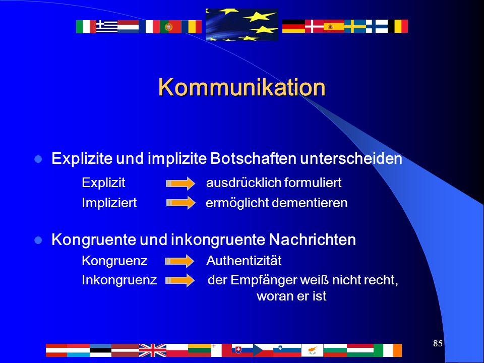 85 Kommunikation Explizite und implizite Botschaften unterscheiden Explizit ausdrücklich formuliert Impliziert ermöglicht dementieren Kongruente und i