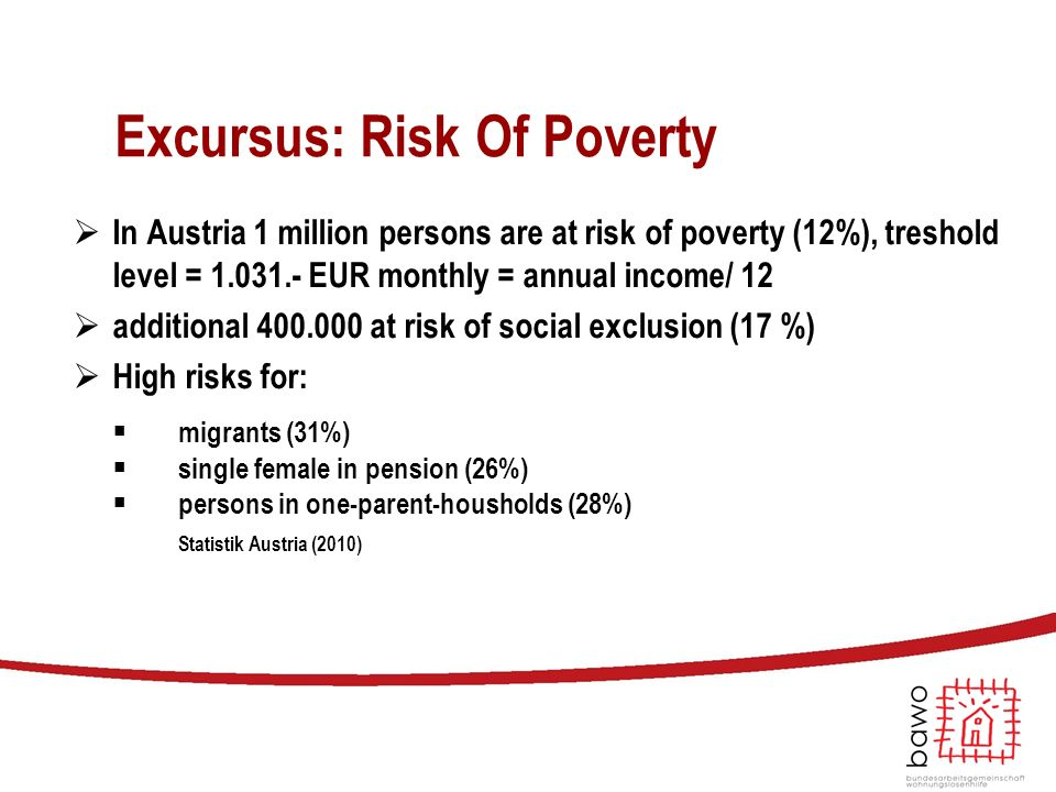 Excursus: Risk Of Poverty  In Austria 1 million persons are at risk of poverty (12%), treshold level = 1.031.- EUR monthly = annual income/ 12  additional 400.000 at risk of social exclusion (17 %)  High risks for: ■ migrants (31%) ■ single female in pension (26%) ■ persons in one-parent-housholds (28%) Statistik Austria (2010)