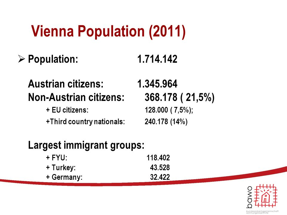 Vienna Population (2011)  Population: 1.714.142 Austrian citizens: 1.345.964 Non-Austrian citizens: 368.178 ( 21,5%) + EU citizens: 128.000 ( 7,5%);