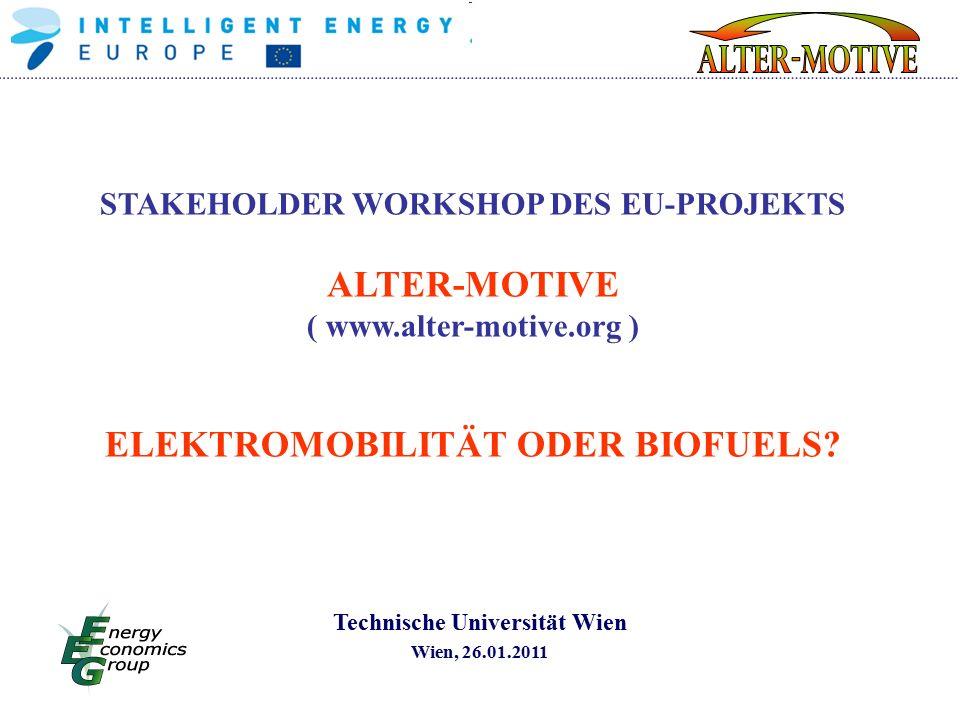 STAKEHOLDER WORKSHOP DES EU-PROJEKTS ALTER-MOTIVE ( www.alter-motive.org ) ELEKTROMOBILITÄT ODER BIOFUELS.