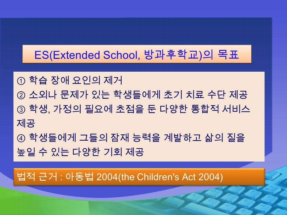 ① 학습 장애 요인의 제거 ② 소외나 문제가 있는 학생들에게 초기 치료 수단 제공 ③ 학생, 가정의 필요에 초점을 둔 다양한 통합적 서비스 제공 ④ 학생들에게 그들의 잠재 능력을 계발하고 삶의 질을 높일 수 있는 다양한 기회 제공 ES(Extended School, 방과후학교 ) 의 목표 법적 근거 : 아동법 2004(the Children s Act 2004)