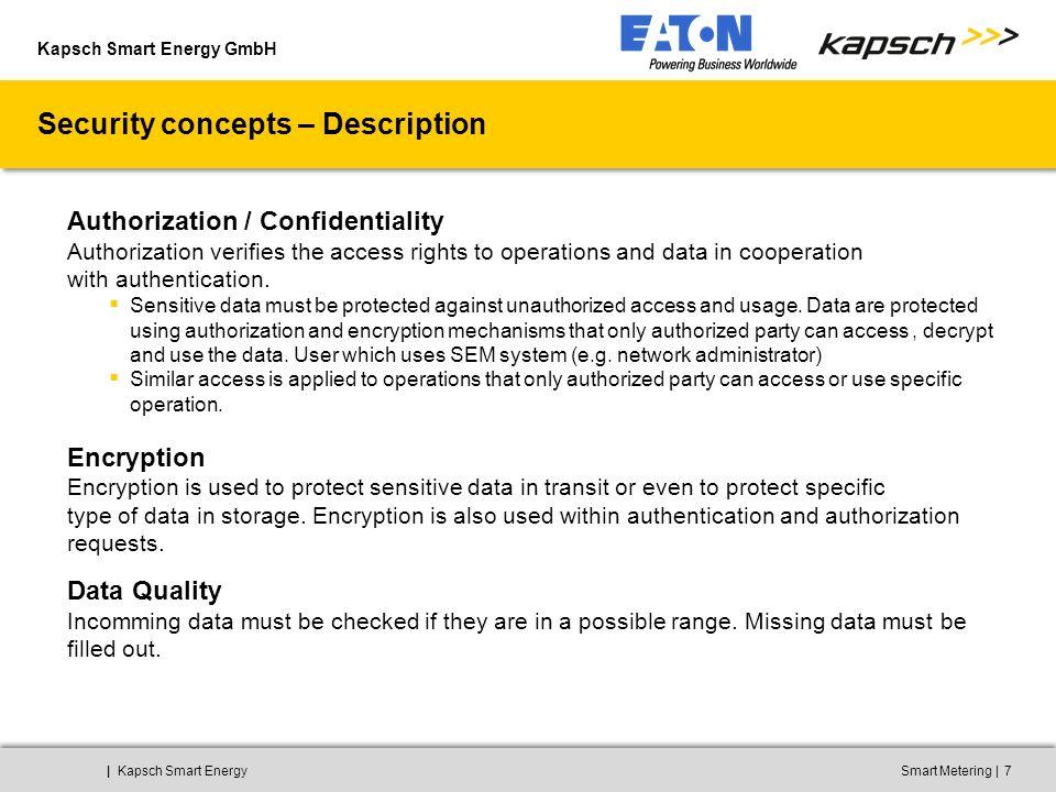Kapsch Smart Energy GmbH ||Kapsch Smart EnergySmart Metering8 GPRS – Zählerdatenverschlüsselung DIN 43863-4 (IPT) verschlüsselt 3GPP 43.020 verschlüsselt (GEA1,2) M2M Gateway BSC/PCU SGSN GGSN SIG Gr Gn Gb Gi BTS MSC VLR MSC VLR HLR Abis Um A A Gs KMOD-FS10 Internet EVU Applikation Zähler VPN Tunnel IEC62056-46/53 (DLMS/COSEM) verschlüsselt EVU APN z.B.