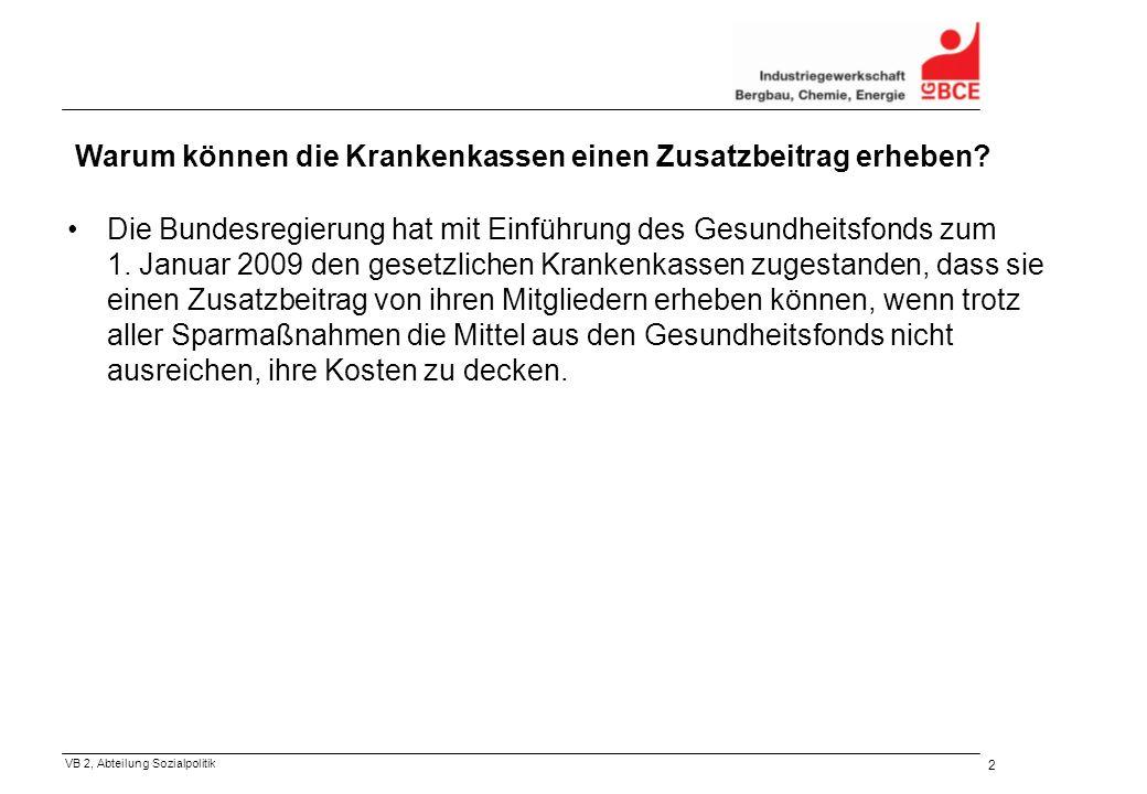 VB 2, Abteilung Sozialpolitik 3 Wie hoch darf der Zusatzbeitrag sein.