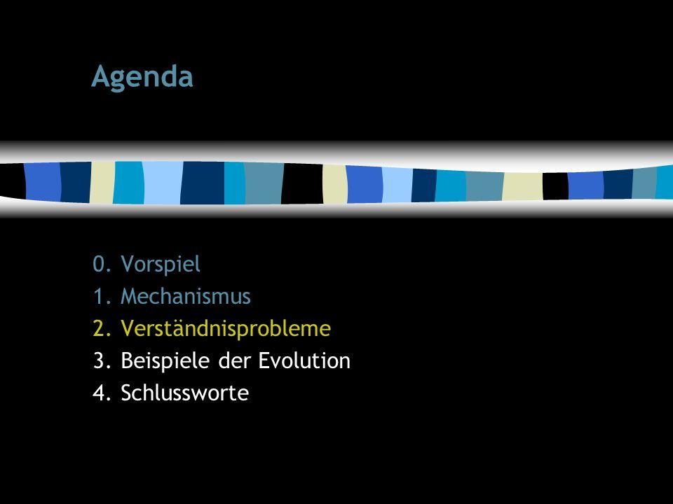 11 Agenda 0.Vorspiel 1.Mechanismus 2.Verständnisprobleme 3.Beispiele der Evolution 4.Schlussworte