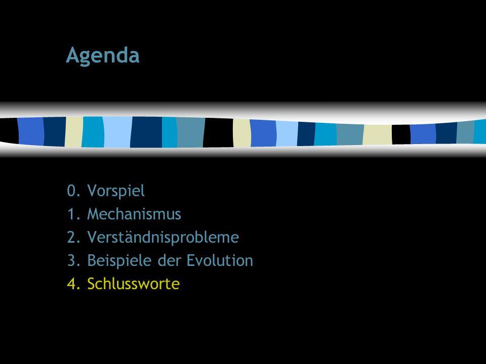 52 Agenda 0.Vorspiel 1.Mechanismus 2.Verständnisprobleme 3.Beispiele der Evolution 4.Schlussworte
