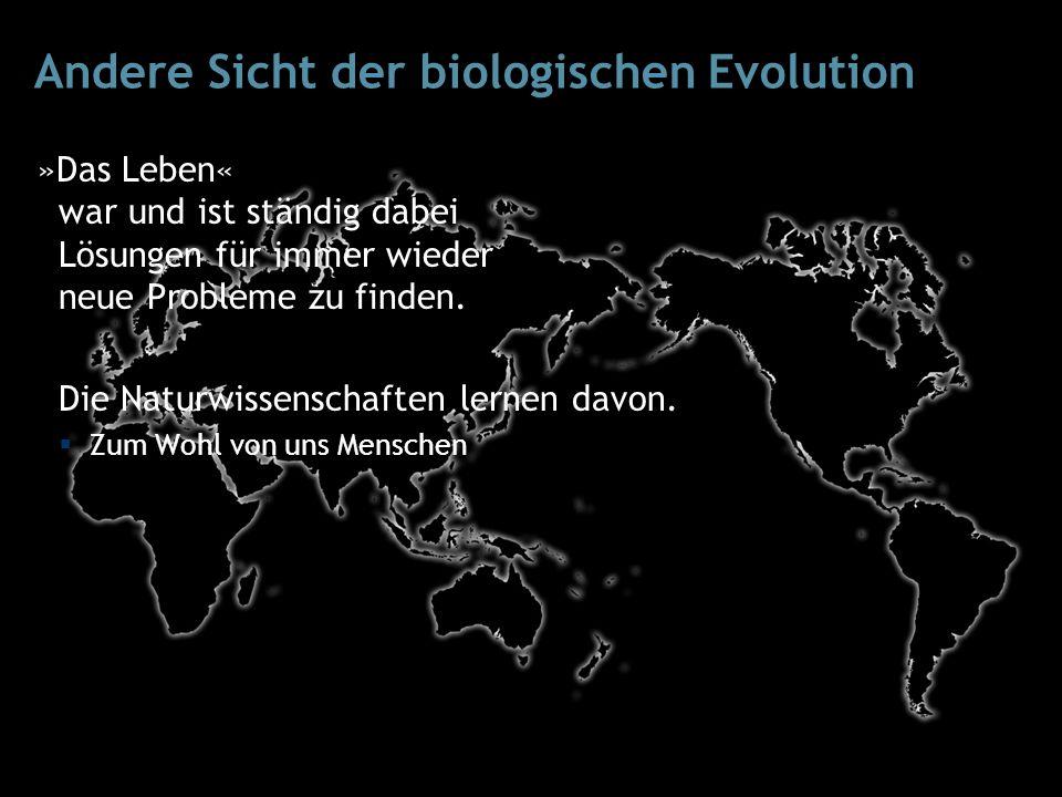 Andere Sicht der biologischen Evolution »Das Leben« war und ist ständig dabei Lösungen für immer wieder neue Probleme zu finden.