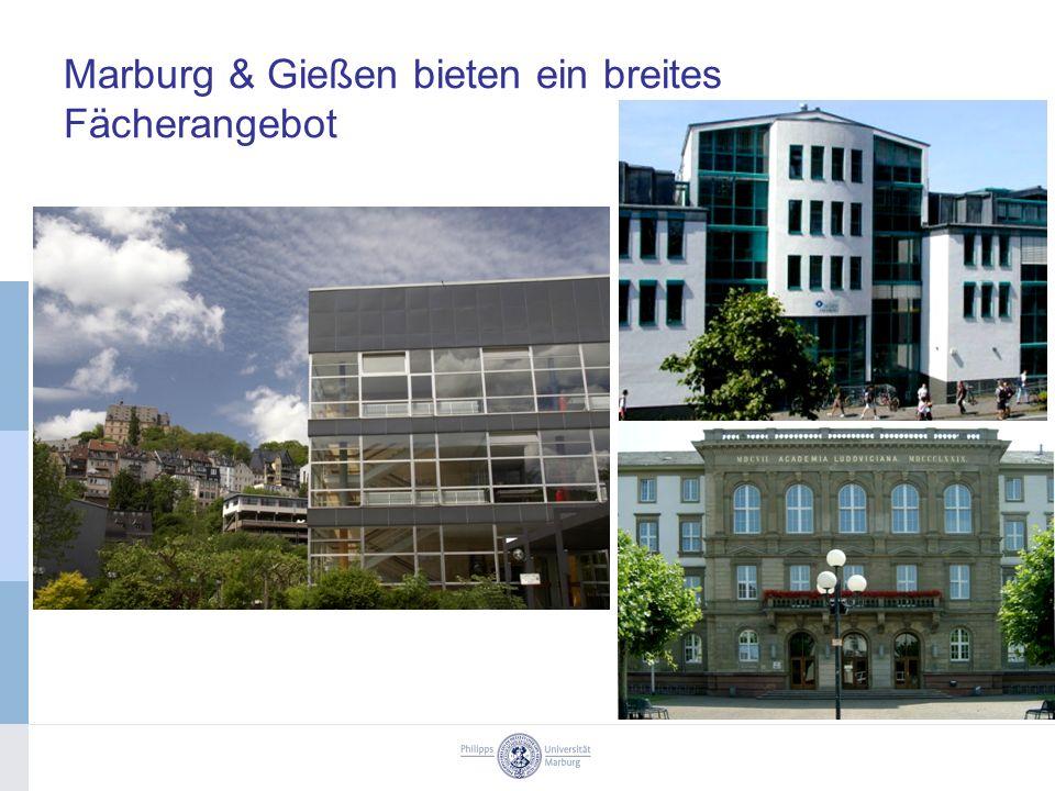 Marburg & Gießen bieten ein breites Fächerangebot