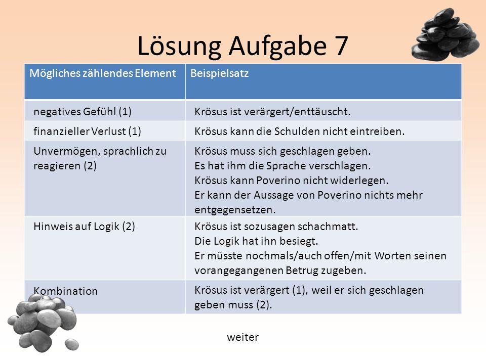 Lösung Aufgabe 7 Mögliches zählendes ElementBeispielsatz negatives Gefühl (1) finanzieller Verlust (1) Unvermögen, sprachlich zu reagieren (2) Hinweis auf Logik (2) Kombination Krösus ist verärgert/enttäuscht.