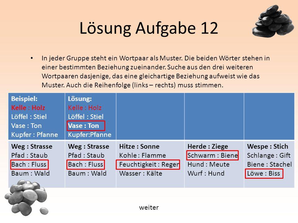 Lösung Aufgabe 12 In jeder Gruppe steht ein Wortpaar als Muster.