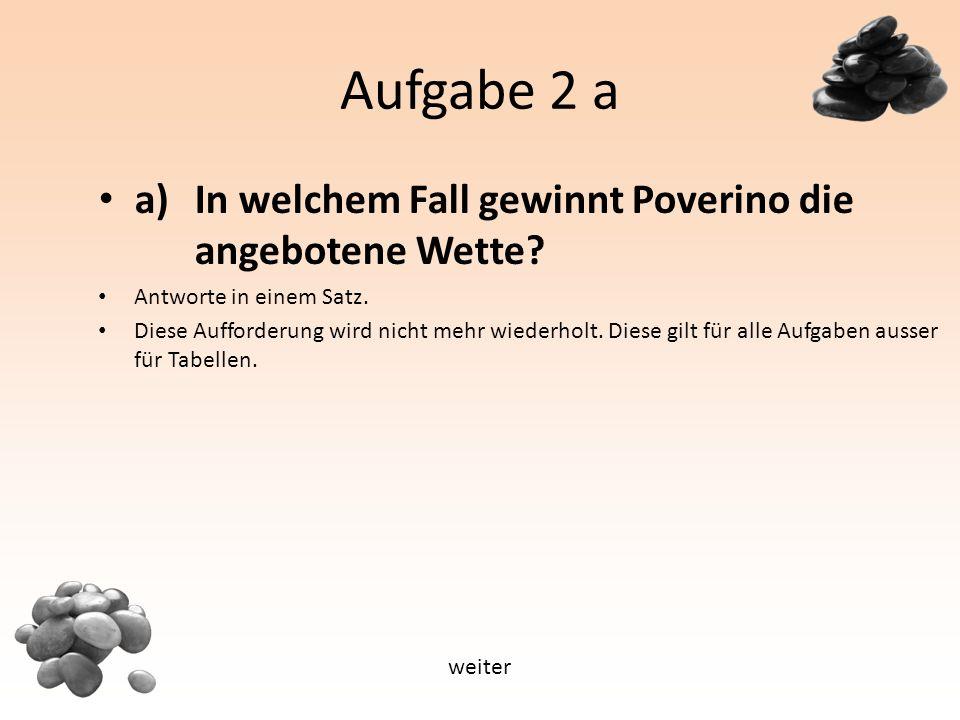 Aufgabe 2 a a) In welchem Fall gewinnt Poverino die angebotene Wette.