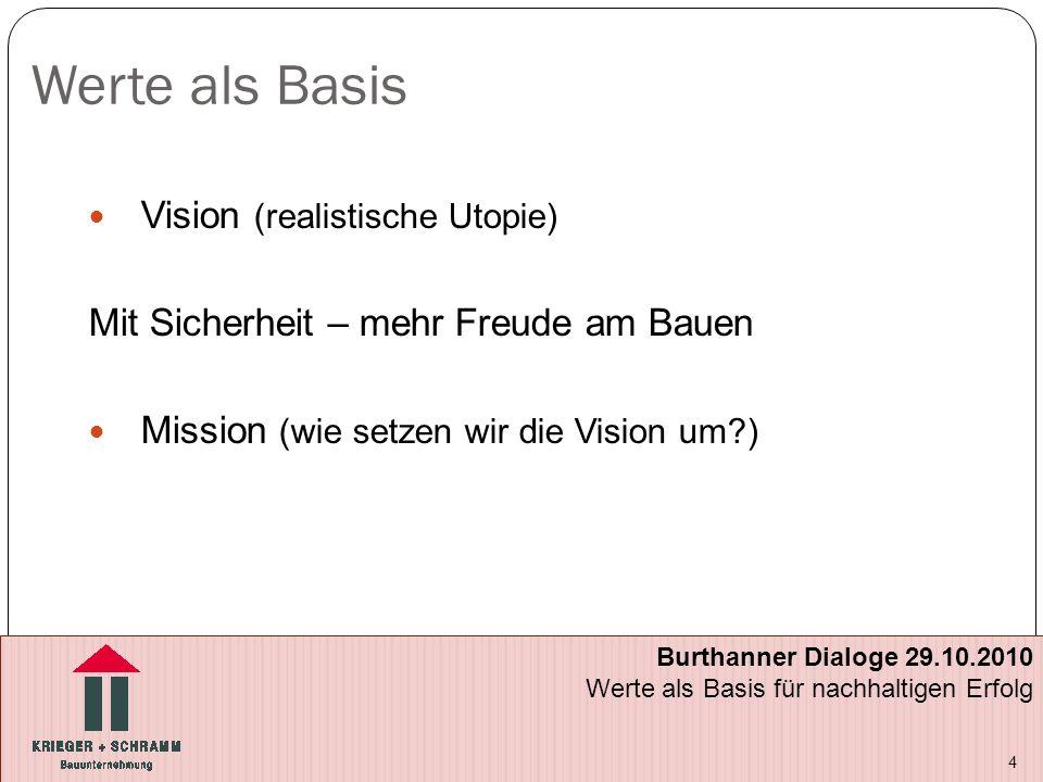 Werte als Basis Vision (realistische Utopie) Mit Sicherheit – mehr Freude am Bauen Mission (wie setzen wir die Vision um?) 4 Burthanner Dialoge 29.10.2010 Werte als Basis für nachhaltigen Erfolg