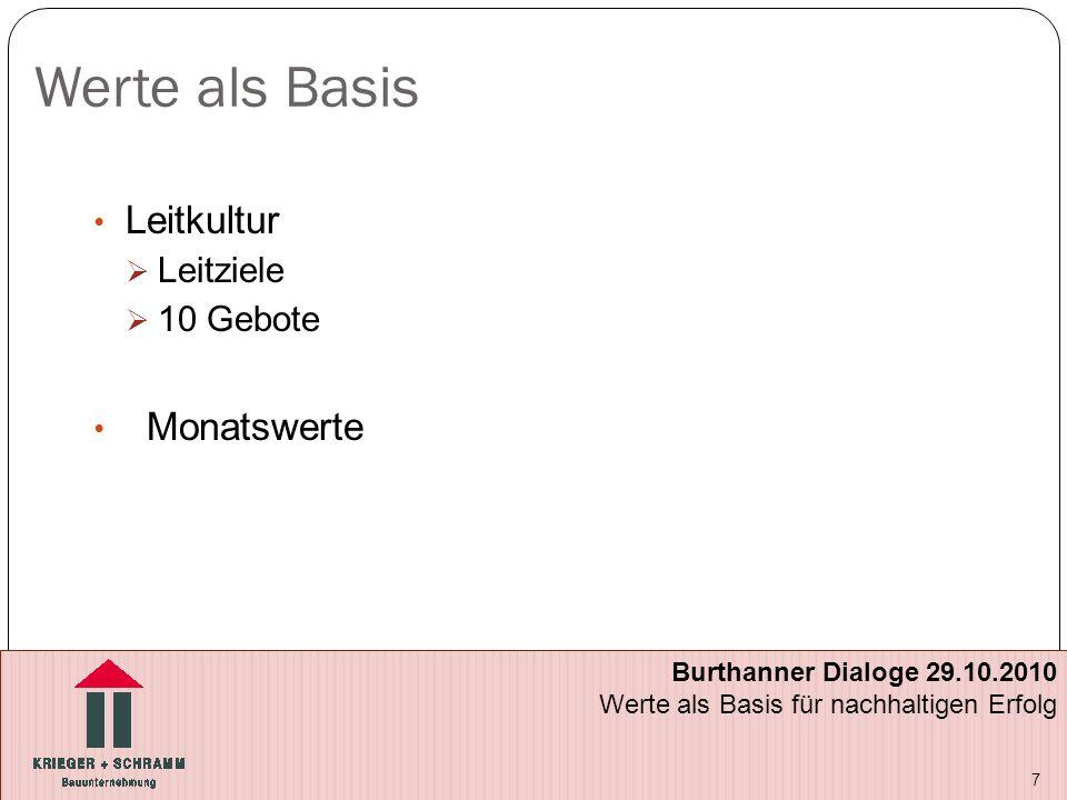 Werte als Basis Leitkultur  Leitziele  10 Gebote Monatswerte 7 Burthanner Dialoge 29.10.2010 Werte als Basis für nachhaltigen Erfolg