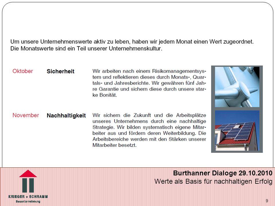9 Burthanner Dialoge 29.10.2010 Werte als Basis für nachhaltigen Erfolg