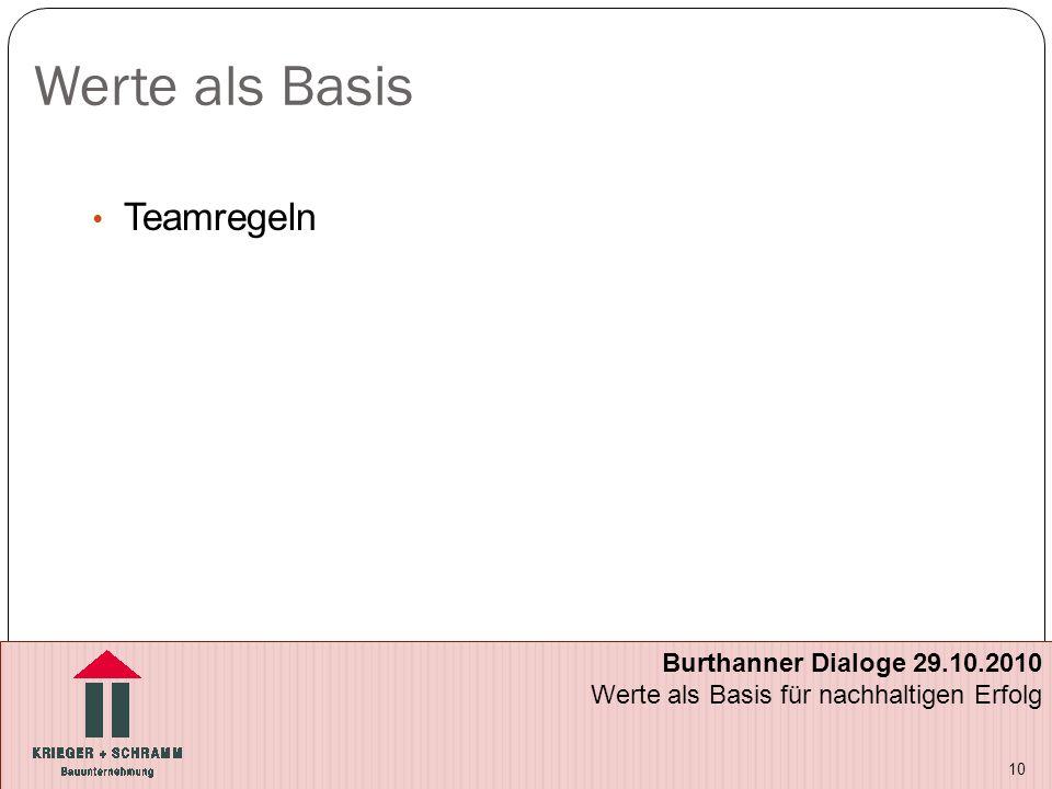 Werte als Basis Teamregeln 10 Burthanner Dialoge 29.10.2010 Werte als Basis für nachhaltigen Erfolg
