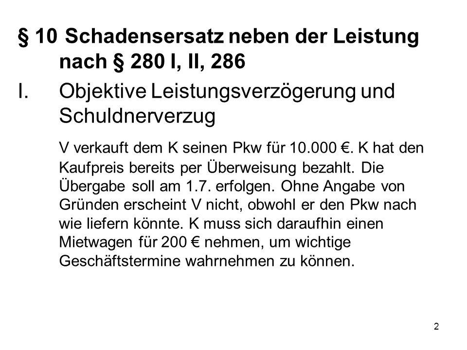 2 I.Objektive Leistungsverzögerung und Schuldnerverzug V verkauft dem K seinen Pkw für 10.000 €. K hat den Kaufpreis bereits per Überweisung bezahlt.