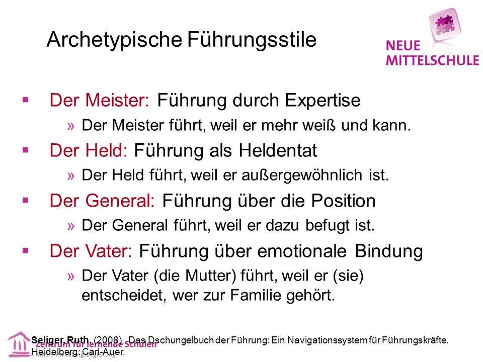 Archetypische Führungsstile  Der Meister: Führung durch Expertise  Der Meister führt, weil er mehr weiß und kann.  Der Held: Führung als Heldentat