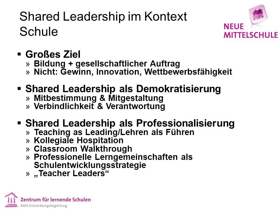 Shared Leadership im Kontext Schule  Großes Ziel  Bildung + gesellschaftlicher Auftrag  Nicht: Gewinn, Innovation, Wettbewerbsfähigkeit  Shared Le