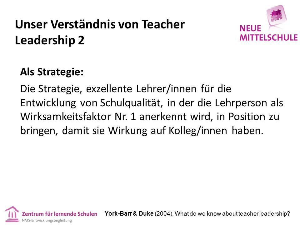 Unser Verständnis von Teacher Leadership 2 Als Strategie: Die Strategie, exzellente Lehrer/innen für die Entwicklung von Schulqualität, in der die Leh
