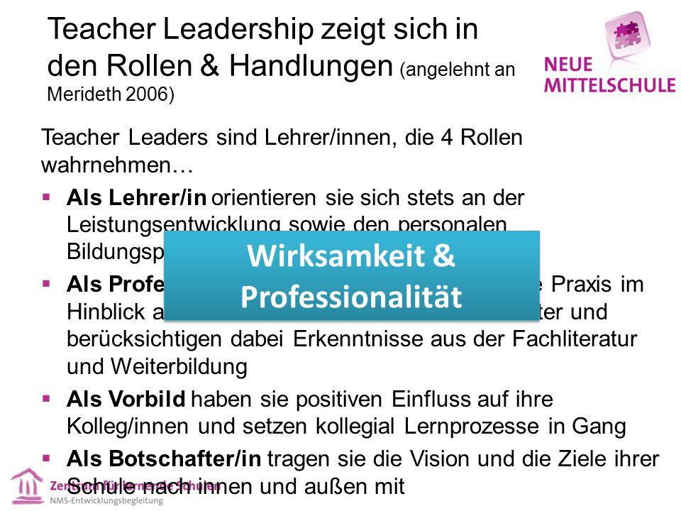 Teacher Leadership zeigt sich in den Rollen & Handlungen (angelehnt an Merideth 2006) Teacher Leaders sind Lehrer/innen, die 4 Rollen wahrnehmen…  Al