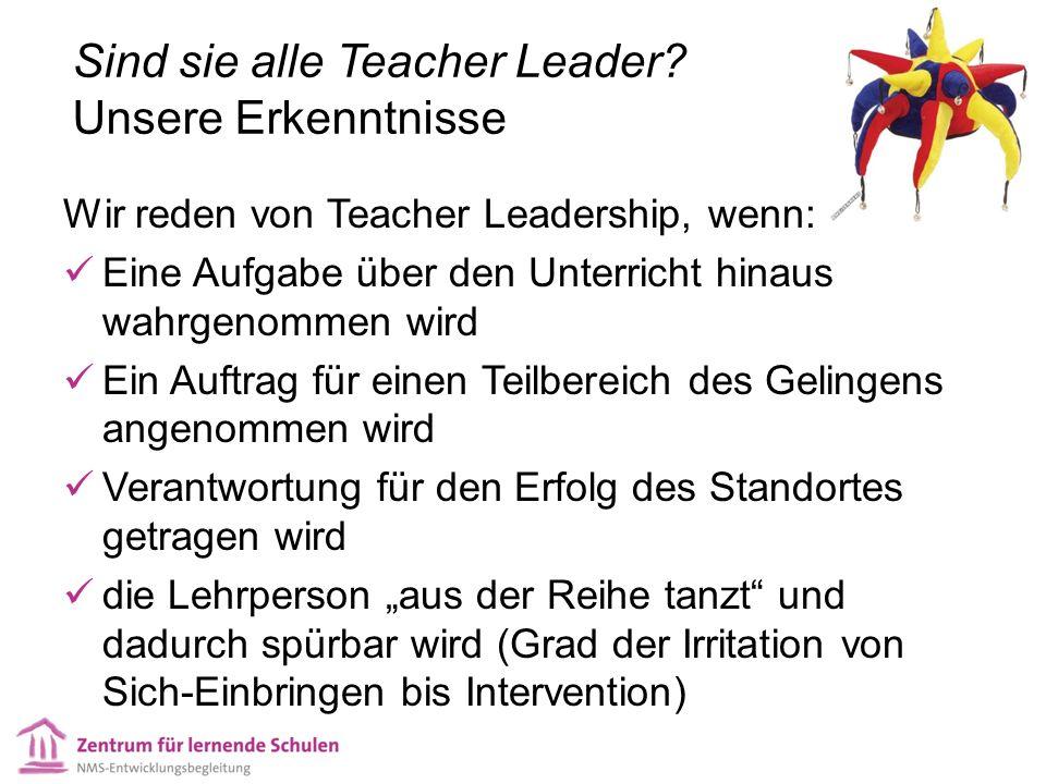 Sind sie alle Teacher Leader? Unsere Erkenntnisse Wir reden von Teacher Leadership, wenn: Eine Aufgabe über den Unterricht hinaus wahrgenommen wird Ei