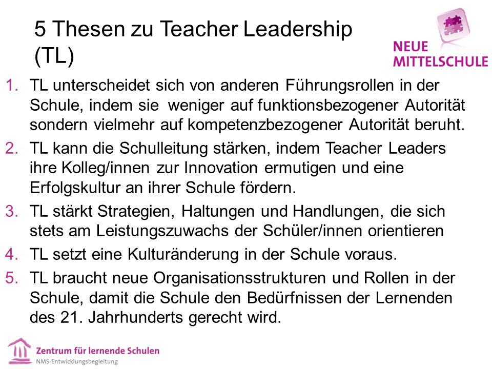 5 Thesen zu Teacher Leadership (TL) 1.TL unterscheidet sich von anderen Führungsrollen in der Schule, indem sie weniger auf funktionsbezogener Autorit