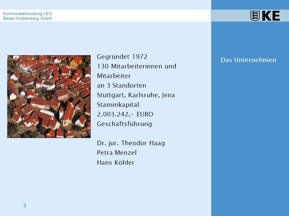 4 Die KE ist das kommunale Kompetenzzentrum der Gesellschafter: LEG Landesentwicklungsgesellschaft Baden-Württemberg mbH Gemeindetag Baden-Württemberg Städtetag Baden-Württemberg Landkreistag Baden-Württemberg Sparkassenverband Baden-Württemberg Das Unternehmen Kommunalentwicklung LEG Baden-Württemberg GmbH