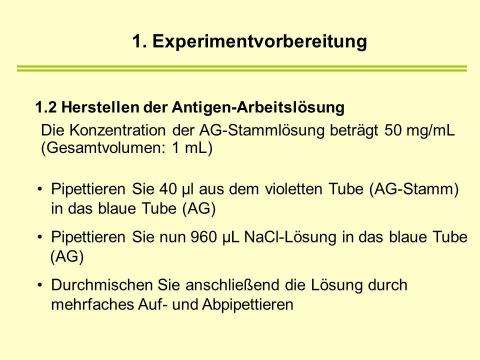 1.2 Herstellen der Antigen-Arbeitslösung Die Konzentration der AG-Stammlösung beträgt 50 mg/mL (Gesamtvolumen: 1 mL) Pipettieren Sie 40 µl aus dem violetten Tube (AG-Stamm) in das blaue Tube (AG) Pipettieren Sie nun 960 µL NaCl-Lösung in das blaue Tube (AG) Durchmischen Sie anschließend die Lösung durch mehrfaches Auf- und Abpipettieren 1.