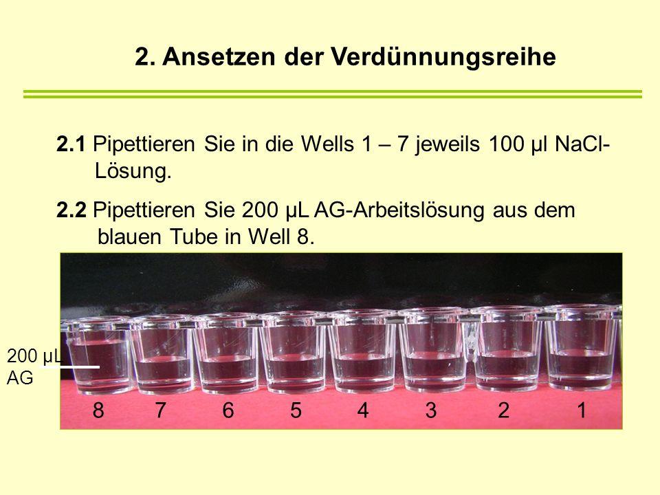 2.1 Pipettieren Sie in die Wells 1 – 7 jeweils 100 µl NaCl- Lösung. 2.2 Pipettieren Sie 200 µL AG-Arbeitslösung aus dem blauen Tube in Well 8. 8765432