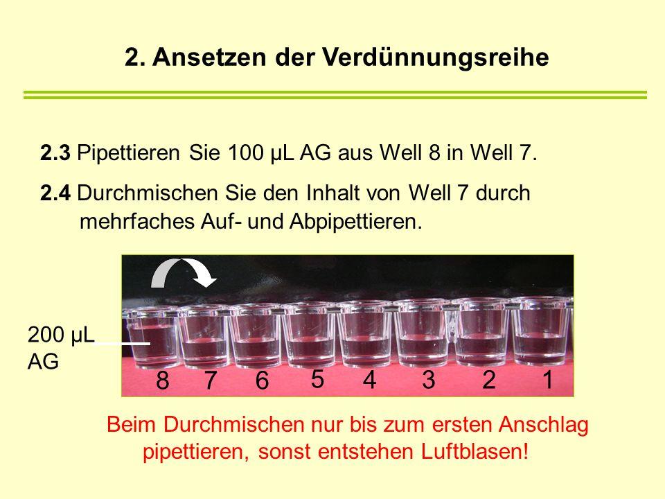 2.3 Pipettieren Sie 100 µL AG aus Well 8 in Well 7. 2.4 Durchmischen Sie den Inhalt von Well 7 durch mehrfaches Auf- und Abpipettieren. Beim Durchmisc