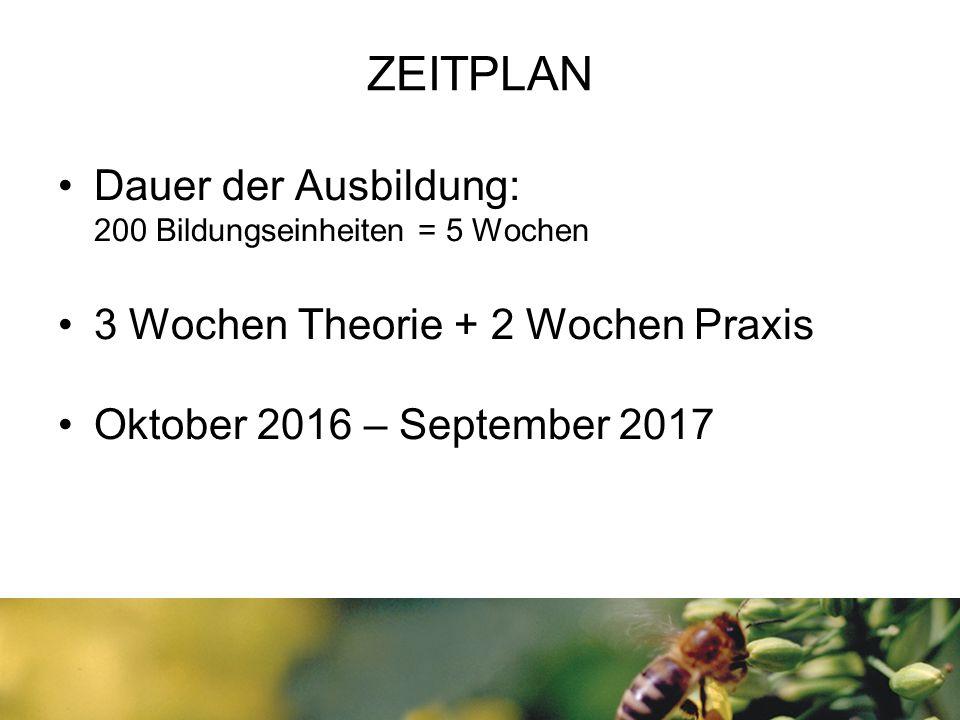 ZEITPLAN Dauer der Ausbildung: 200 Bildungseinheiten = 5 Wochen 3 Wochen Theorie + 2 Wochen Praxis Oktober 2016 – September 2017
