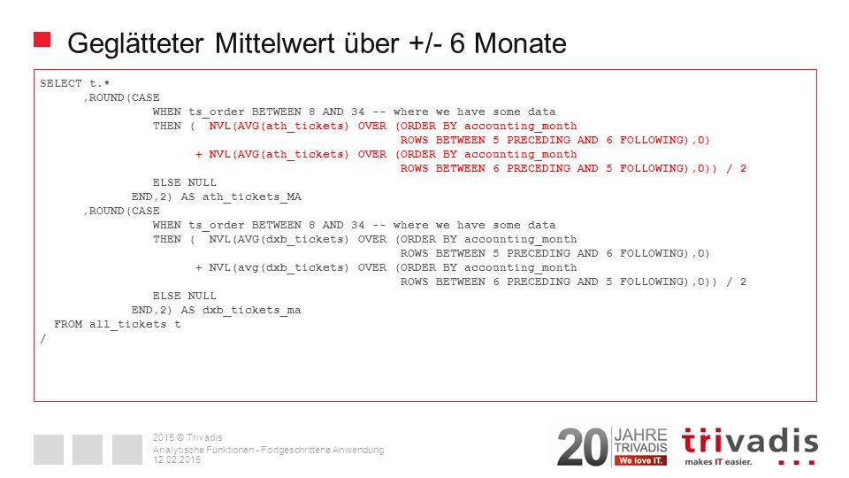 2015 © Trivadis Geglätteter Mittelwert über +/- 6 Monate SELECT t.*,ROUND(CASE WHEN ts_order BETWEEN 8 AND 34 -- where we have some data THEN ( NVL(AVG(ath_tickets) OVER (ORDER BY accounting_month ROWS BETWEEN 5 PRECEDING AND 6 FOLLOWING),0) + NVL(AVG(ath_tickets) OVER (ORDER BY accounting_month ROWS BETWEEN 6 PRECEDING AND 5 FOLLOWING),0)) / 2 ELSE NULL END,2) AS ath_tickets_MA,ROUND(CASE WHEN ts_order BETWEEN 8 AND 34 -- where we have some data THEN ( NVL(AVG(dxb_tickets) OVER (ORDER BY accounting_month ROWS BETWEEN 5 PRECEDING AND 6 FOLLOWING),0) + NVL(avg(dxb_tickets) OVER (ORDER BY accounting_month ROWS BETWEEN 6 PRECEDING AND 5 FOLLOWING),0)) / 2 ELSE NULL END,2) AS dxb_tickets_ma FROM all_tickets t / 12.02.2015 Analytische Funktionen - Fortgeschrittene Anwendung