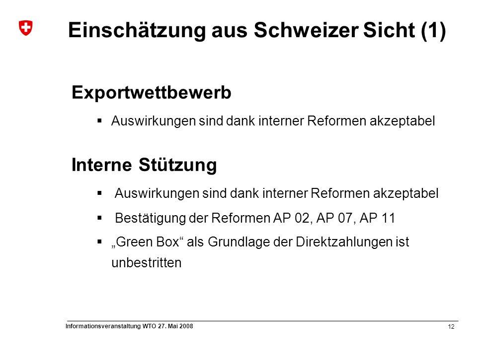 12 Informationsveranstaltung WTO 27. Mai 2008 Einschätzung aus Schweizer Sicht (1) Exportwettbewerb  Auswirkungen sind dank interner Reformen akzepta