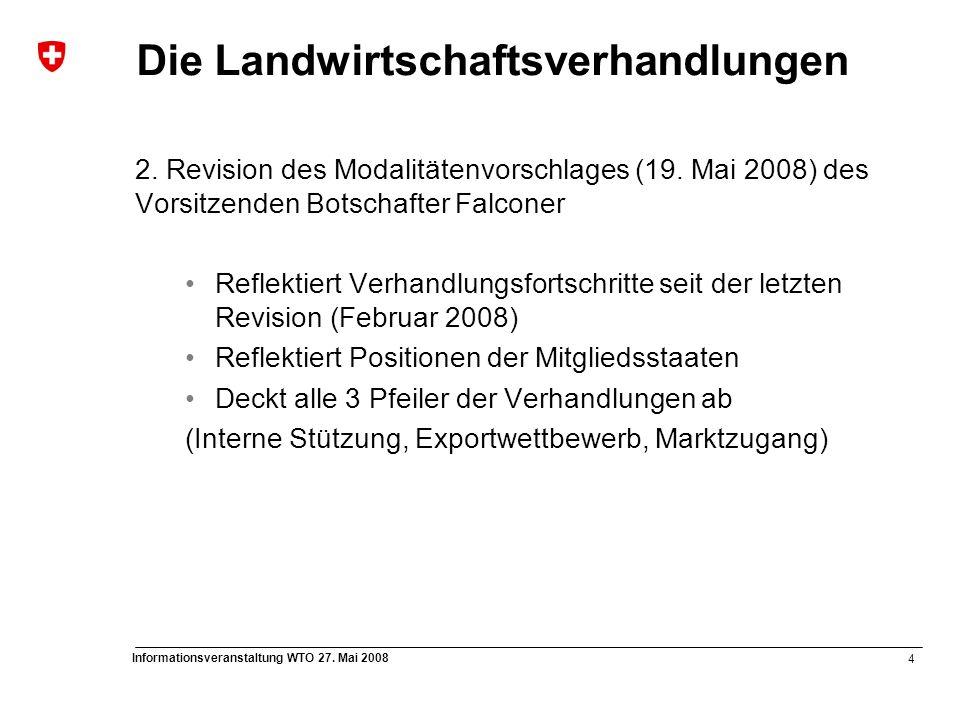 4 Informationsveranstaltung WTO 27. Mai 2008 Die Landwirtschaftsverhandlungen 2. Revision des Modalitätenvorschlages (19. Mai 2008) des Vorsitzenden B