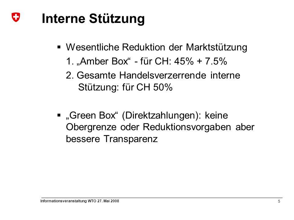 """5 Informationsveranstaltung WTO 27. Mai 2008 Interne Stützung  Wesentliche Reduktion der Marktstützung 1. """"Amber Box"""" - für CH: 45% + 7.5% 2. Gesamte"""
