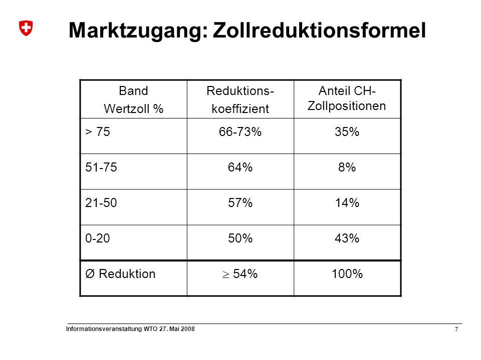 7 Informationsveranstaltung WTO 27. Mai 2008 Marktzugang: Zollreduktionsformel Band Wertzoll % Reduktions- koeffizient Anteil CH- Zollpositionen > 756