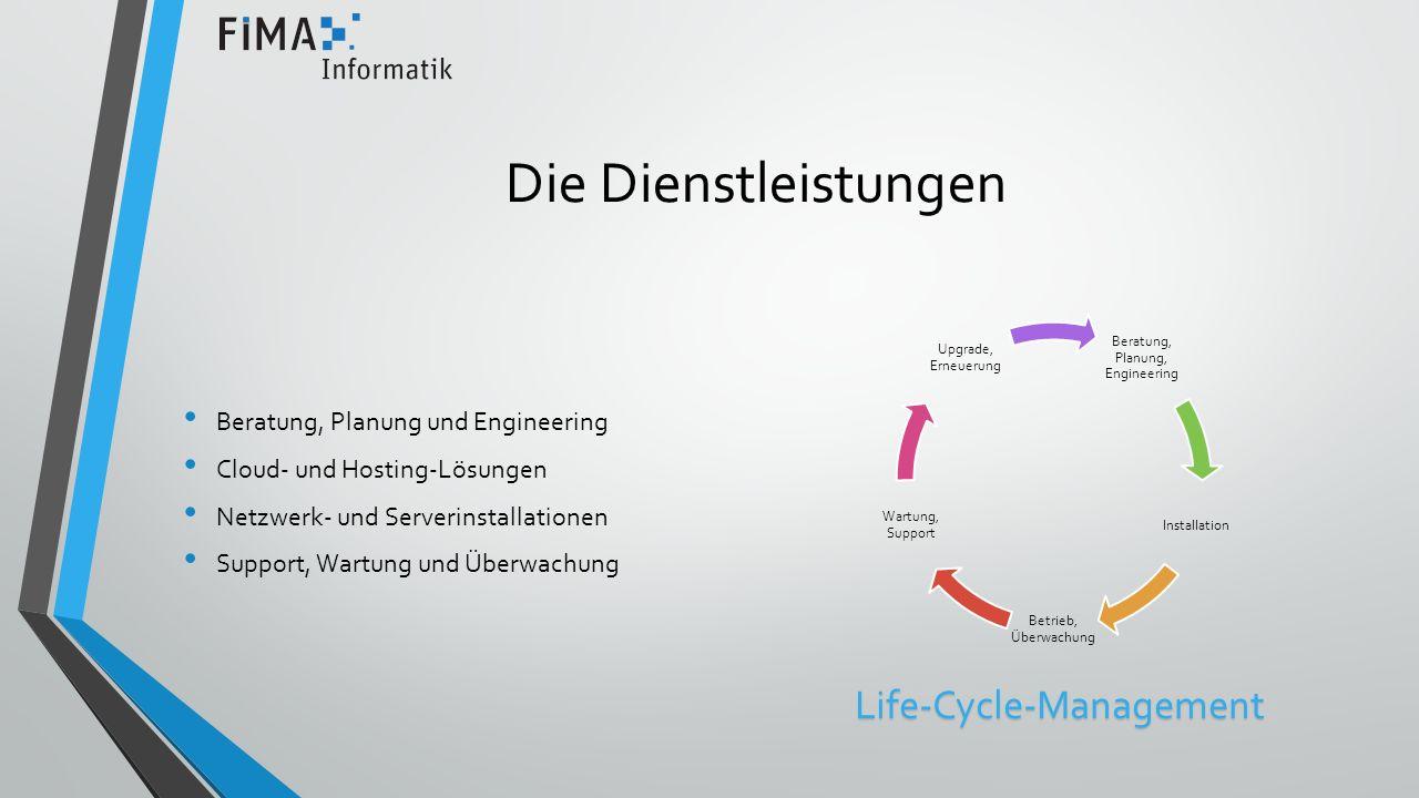 Die Dienstleistungen Beratung, Planung und Engineering Cloud- und Hosting-Lösungen Netzwerk- und Serverinstallationen Support, Wartung und Überwachung Beratung, Planung, Engineering Installation Betrieb, Überwachung Wartung, Support Upgrade, ErneuerungLife-Cycle-Management