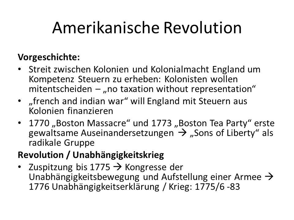 Amerikanische Revolution Vorgeschichte: Streit zwischen Kolonien und Kolonialmacht England um Kompetenz Steuern zu erheben: Kolonisten wollen mitentsc