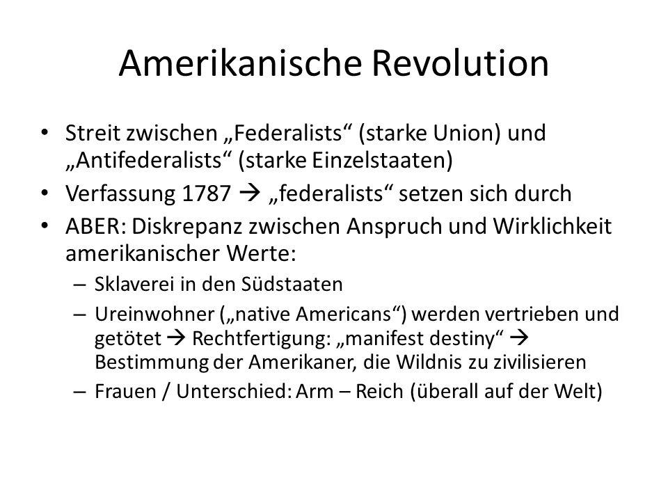 """Amerikanische Revolution Streit zwischen """"Federalists"""" (starke Union) und """"Antifederalists"""" (starke Einzelstaaten) Verfassung 1787  """"federalists"""" set"""