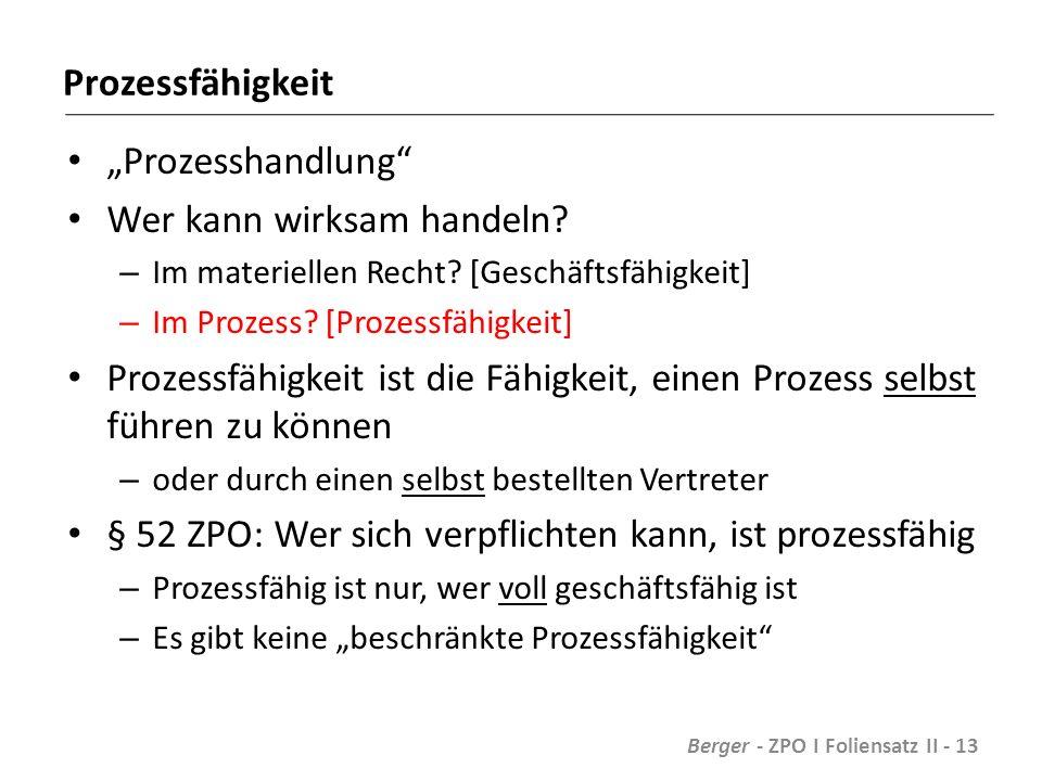 """Prozessfähigkeit """"Prozesshandlung Wer kann wirksam handeln."""