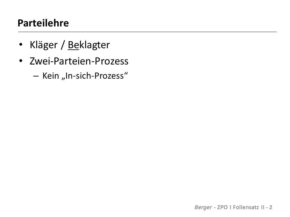 """Parteilehre Kläger / Beklagter Zwei-Parteien-Prozess – Kein """"In-sich-Prozess Berger - ZPO I Foliensatz II - 2"""