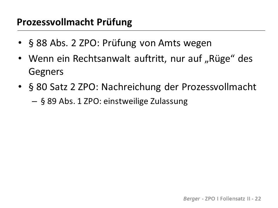 Prozessvollmacht Prüfung § 88 Abs.