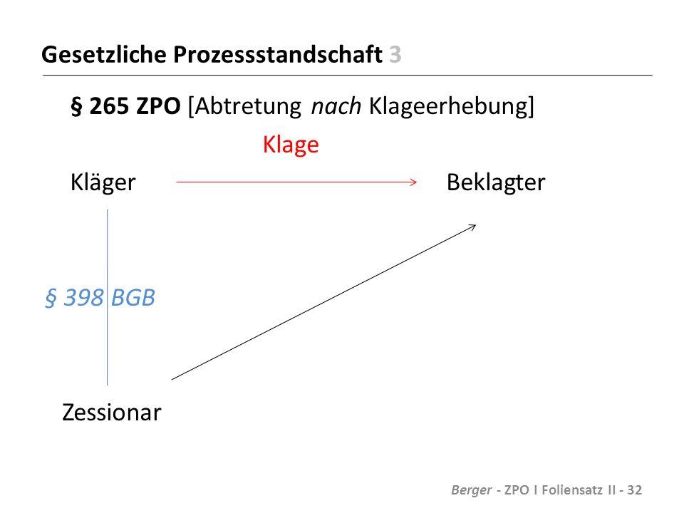 Gesetzliche Prozessstandschaft 3 § 265 ZPO [Abtretung nach Klageerhebung] Klage Kläger Beklagter § 398 BGB Zessionar Berger - ZPO I Foliensatz II - 32