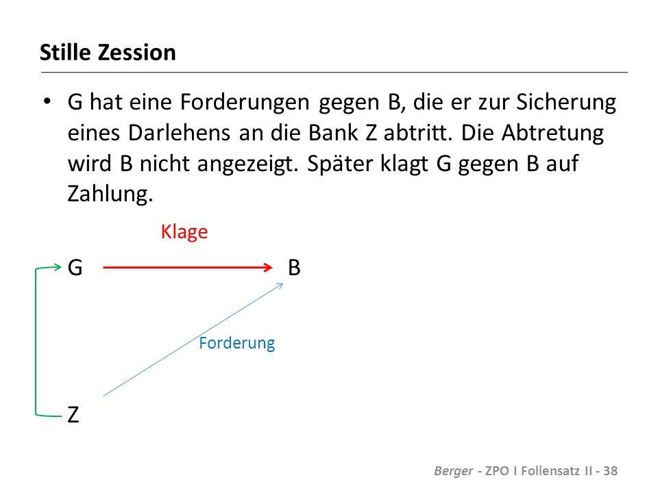 Stille Zession G hat eine Forderungen gegen B, die er zur Sicherung eines Darlehens an die Bank Z abtritt.